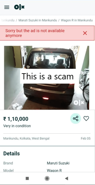 Fake OLX AD for a Car