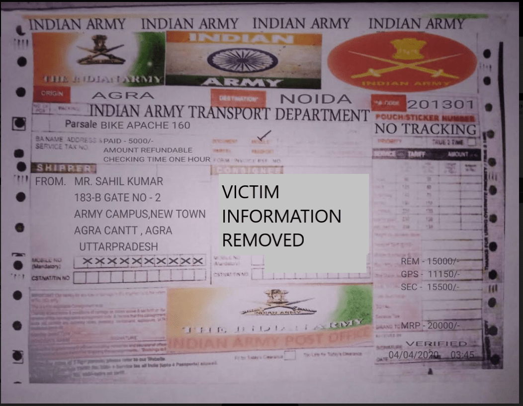Fake Army Transport Service Receipt